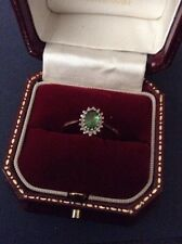 9ct Emerald Surrounded By Diamonds Cluster Ring