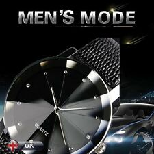 New Luxury Mens Watch Military Stainless Steel Dial Leather Sport Wrist Watches
