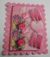 PACK 2 PINK TULIPS MUM EMBELLISHMENT TOPPERS FOR CARDS AND CRAFTS
