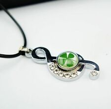 Lucky Shamrock Four Leaf Clover Treble G Clef Musical Note Quaver Cord Necklace