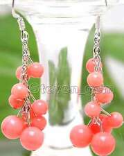 "SALE GENUINE 4 to 6mm Round Natural Pink coral 2"" Grape Dangle earring hook-e106"