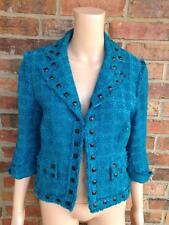 ALBERTO MAKALI Studded Jacket Size 6 Women Tweed Shimmer Viscose Blend Lined S