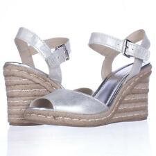 Marc Fisher Maiseey Espadrille Wedge Sandals - Silver, 8.5 M US USED