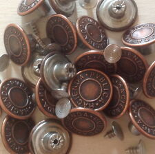 "Approx 17MM (43/64"") no sew marteau sur denim/jean boutons x 10-bronze"