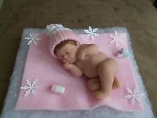 "4"" POLYMER CLAY OOAK BOY or GIRL BABY DOLL w/HANDMADE BOTTLE AND BLOCKS"