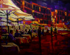 Michael Flohr Cappuccino With Friends Enhanced Giclee on Canvas S/N w/COA