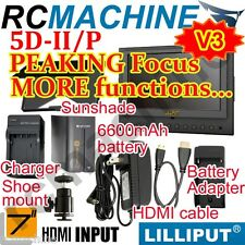 "Lilliput 7"" 5D-II/P HDMI Monitor PEAKING+F970 battery+charger+cable+shoe mount"