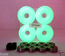 Blank Pro 52mm GLOW IN THE DARK Skateboard Wheels + ABEC 7 Bearings + Spacers