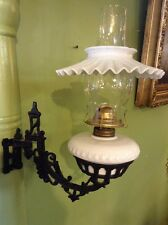 VINTAGE ANTIQUE CAST IRON WALL SCONCE BRACKET W/ WHITE MILK GLASS OIL LAMP