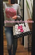 BETSEY JOHNSON Bag BLACK WHITE Bows PINK LUV Diamond QUILTED Faux LEATHER Tote