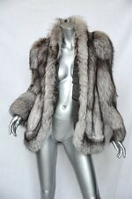 SAKOWITZ Brown+White+Grey GENUINE Fox FUR Coat Jacket M&L **GLAMOUROUS LIFE**