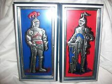 2 Vintage Weibro Sculp-Craft Tooled Metal Plaquette Knight Wall Hangings Armor