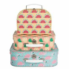 SET OF 3 TROPICAL SASS & BELLE FLORAL SUITCASES STORAGE DISPLAY GIFT -SALE!