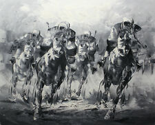 Modern wall home decor Abstract oil painting art Black and White Horse Racing