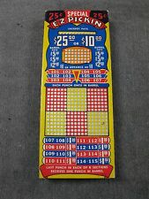 """Vintage Unused """"Special E-Z Pickin"""" 25 Cent Punch Board Serial #3299 BOX # PB-6"""