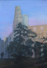 LARGE OIL ON CANVAS JUMIEGES ABBEY NORMANDY ARTIST ADRIENNE TALBOT FREE SHIPPING