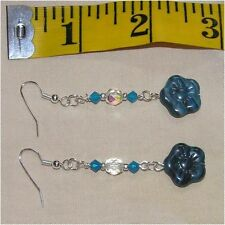 Adorable Blue Czech Glass Flower Swarovski Crystal Dangle Earrings 2 3/4 in long