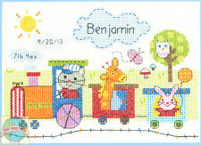 Cross Stitch Mini Kit ~  Dimensions Cute Animal Train Baby Birth Record 70-73925