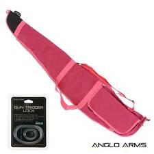 PINK Womens Rifle Gun Padded Carry Case Shotgun Bag Gunslip Trigger Safety Lock