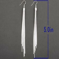 Fashion Jewelry Noble Tassels Silver Plated Long Hook Dangle Earrings Women