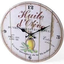 Rustic Style Shabby Chic Olive Oil Kitchen Wall Clock - NEW
