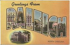 Greetings From Raleigh NC Large Letter Linen Postcard