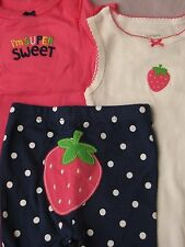 NEW Newborn Carter's NB Strawberry outfit girl Set Baby bodysuit pant lot infant