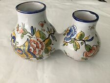 Vintage Angouleme Renoleau FRance Faience small  double vase