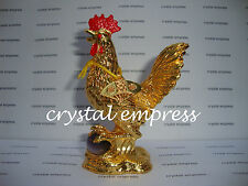 FENG SHUI - ROOSTER WITH FAN & PURPLE CAT'S EYE FIGURINE (3RD PARTY & INFIDELITY