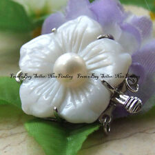 ca0175 White Natural MOP/Shell Genuine Pearl Clasp 25mm Jewelry