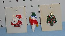 SANTA CLAUS, SNOWMAN & TREE PINS - CANDY CANES - CLAY - SET OF 3