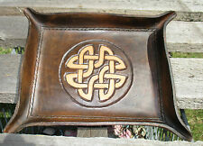 Personalized Leather Valet Tray. Celtic Knot, Dresser Tray, trinket tray ,Change