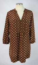 FOSSIL Brown & White Polka Dot Silk 3/4 Sleeve Peasant Tunic Top Shirt Dress L