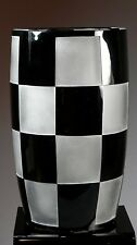 Signed Val St. Lambert Limited Edition Black & Frosted Glass Checkerboard Vase