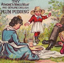 1800s Atmore Mince Meat Plum Pudding Pie Picnic Victorian Advertising Trade Card
