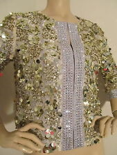NEW  ST JOHN KNIT COUTURE SZ 2 JACKET CRYSTALS & SEQUINS GOLD & SILVER