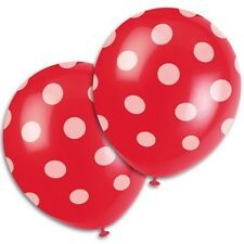 "6 Red White Polka Dot Spot Style Party 12"" Printed Latex Balloons"
