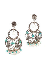 NEW STEPHEN DWECK SS Pearl Crystal Quartz Turquoise Dangle Earrings $520