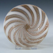 Murano Brown & White Glass Zanfirico Filigree Bowl #2