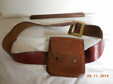 VINTAGE HANDMADE LEATHER BELT AND POUCH 60'S