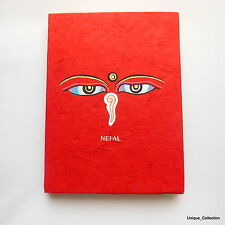 Red Color Buddha Eye Printed Handmade Lokta Paper Notebook Diary Journal
