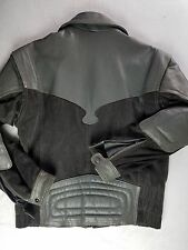 VINTAGE HEIN GERICK MOTORCYCLE JACKET MEN HONDALINE LEATHER DENIM JACKET GRAY