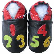 carozoo number black 18-24m soft sole leather baby shoes