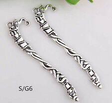 5pcs Tibet Silver Hook Carve Retro Teapot Pattern Charms Bookmarks 81*