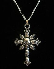 "18"" Inch 925 Sterling Silver Gothic Style Skull Cross Charm / Pendant Necklace"