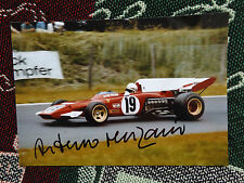 "HAND SIGNED 10"" x 7"" PHOTO - ARTURIO MERZARIO - FERRARI 312 B2 GOODWOOD REVIVAL"