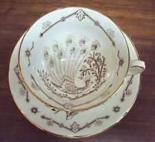 Beautiful Royal Grafton Brown Peacock Cup & Saucer Made in England