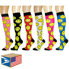 6 PAIR LOT KNEE HIGH SOCKS Emoji Happy Face Smile Smiley ASSORTED COLORS! #E3501