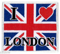 "I Love London Union Jack (Large) Embroidered Patch 10cm x 8.5cm (4"" x 3 1/2)"