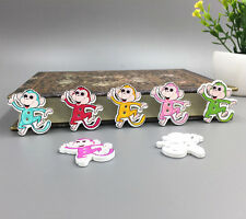 DIY 20PCS multicolor Monkey Pattern Wooden Buttons Fit Sewing and Scrapbook 29mm
